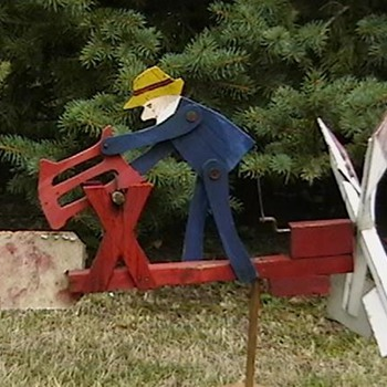 Man Sawing Log Whirligig - Folk Art