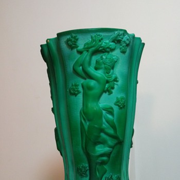 Bohemian Malachite glass vase c1930 - Art Glass