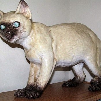 LARGE MAJOLICA CAT WITH POTTER'S SEAL