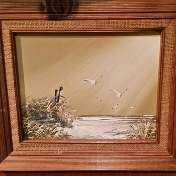 Oil Painting w/wood and burlap frame - Fine Art