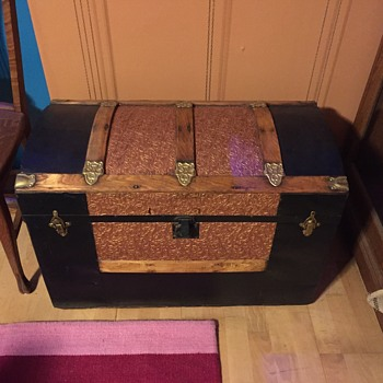 steamer trunk dome top with  embossed flower and leaf tin  - Furniture