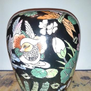 Vintage Chinese Famille Noire Vase - Asian