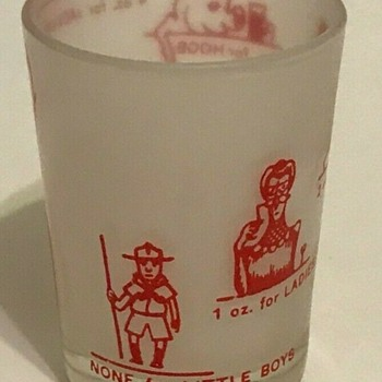 1950's/1960's  4 Ounce 'Roving Eye' What's Yours? Frosted Shot Glass- Unmarked. - Glassware