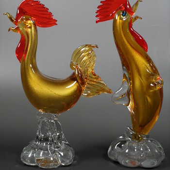 Venetian Roosters Pair ~ Gold Aventurine - Art Glass