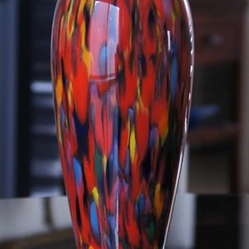 Czech Spatter Vases - Same Décor - Unidentified Production.  - Art Glass