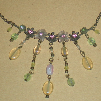 Bohemian Art Nouveau bronze glass and crystal necklace.