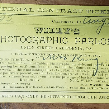 Receipt for Wileys Photographic Parlor - Paper