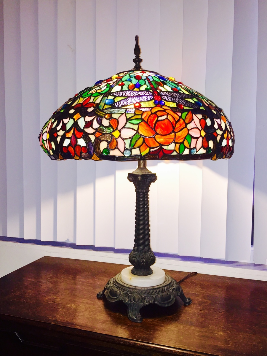 Vintage Antique? Tiffany Style Dragonfly Stained Glass Lampshade U0026 Marble  Lamp Stand | Collectors Weekly