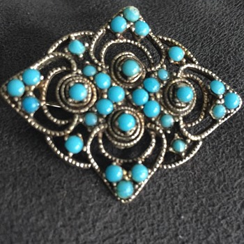 Silver tine and turquoise color beaded pin  - Costume Jewelry
