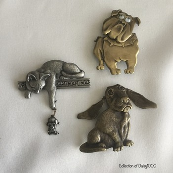 Jonette Jewelry Brooches — Two Dogs and Cat - Costume Jewelry