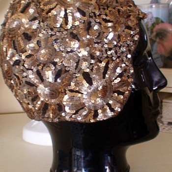 1920's B. ALTMAN, Made in France Gold Sequin Evening Cloche - Womens Clothing