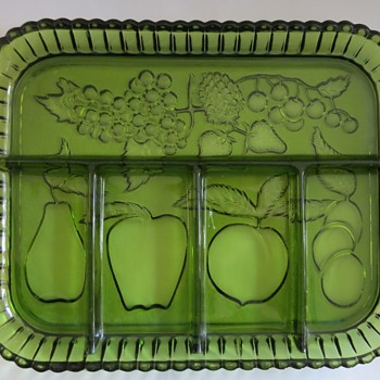 Indiana Glass Green 5 Part Serving Tray - Glassware