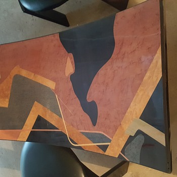 Identify help. Wood inlay / veneer? Art Deco? Dining table, coffee table, and cabinet. - Furniture