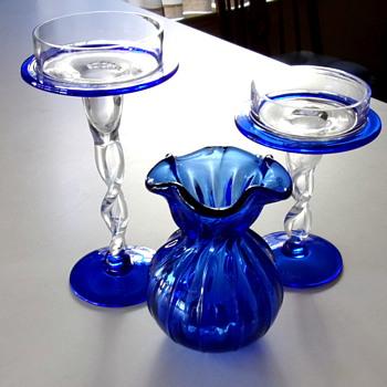 "1960s 1970s Cobalt Vase ""Snowflakes"" - Art Glass"