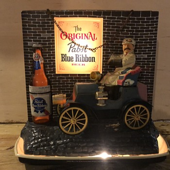 Pabst Blue Ribbon vintage jalopy beer sign - Breweriana