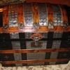 Metal Covered Geometric Pattern Roundtop Trunk