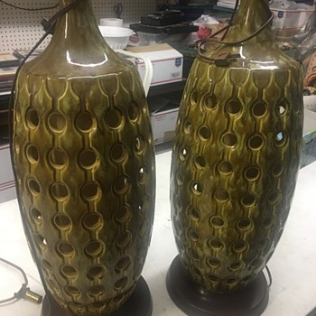 "2 Green Mid Century Lamps ""WHO MADE THEM"""