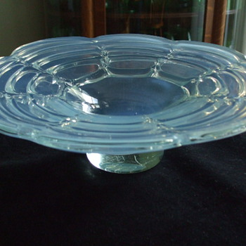 Light Blue OPALESCENT Bowl- Drapery Design- Who Made This?