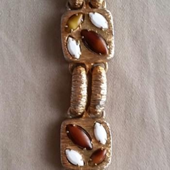 Brown and white rhinestone bracelet - Costume Jewelry