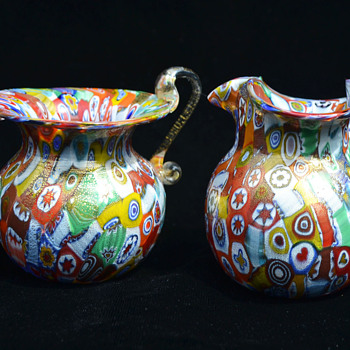 Millefiori mini creamer and sugar with gold dust casing - Art Glass