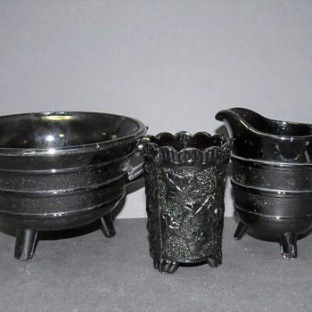 Victorian Black Milk Glass - Sugar Bowl, Jug, Toothpick Holder - Glassware
