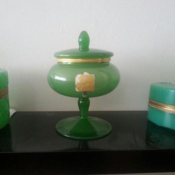 Opaline Apothecary Pot/ Pedestal Jar - Art Glass