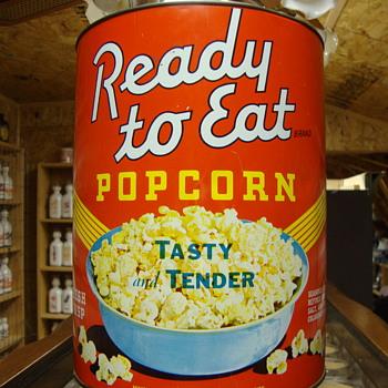 "VINTAGE ""READY TO EAT"" POPCORN TIN - Advertising"