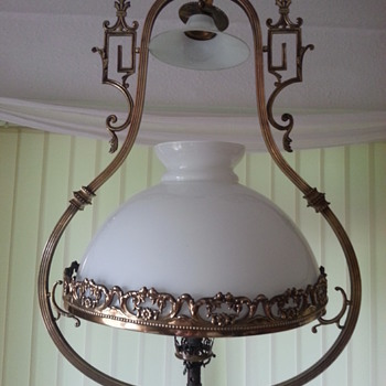 Chinwasori Style Hanging Brass Ceiling Lantern/Converted Gas Lamp - Lamps