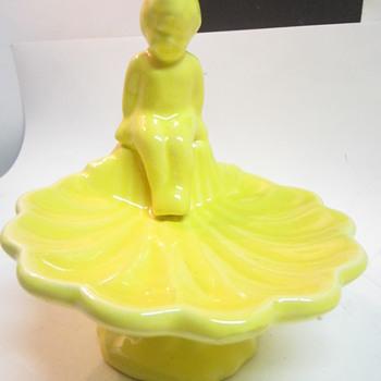 Boy on Seashell Yellow Glaze McCoy? Haeger? - Pottery