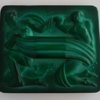 Czech Malachite green Glass Plaque - Art Deco