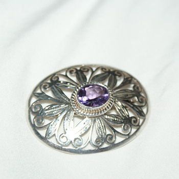 Pretty Sterling Brooch with Purple Stone - Fine Jewelry