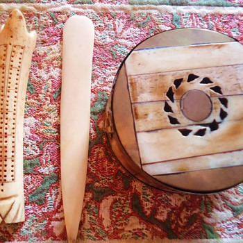 Eskimo Walrus Ivory box, cribbage bd., and knife or?  How old? - Native American