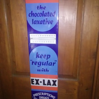Porcelain Ex-Lax thermometer sign - Advertising