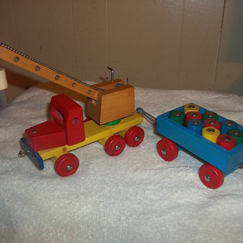WOODEN TRUCK AND TRAILER