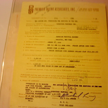 woodstock contract - Music Memorabilia