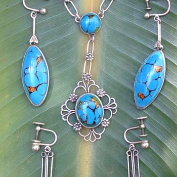 Bernard Instone Silver Enamel Pendant and Earrings