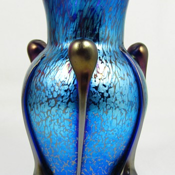 Loetz Cobalt Papillon Vase with applied Tadpoles ca. 1918-20 marked - Art Glass