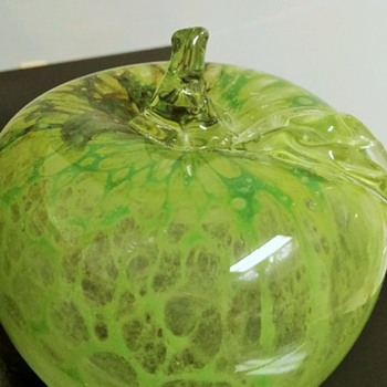 Granny Smith transparent glass apple with cool dark spot (rotten spot) - Art Glass