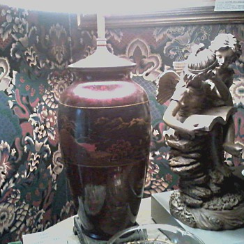 "My Grandmother's Japanese Hand Painted Lacquer Lamp / Circa"" As Long as I Can Remember "" - Lamps"