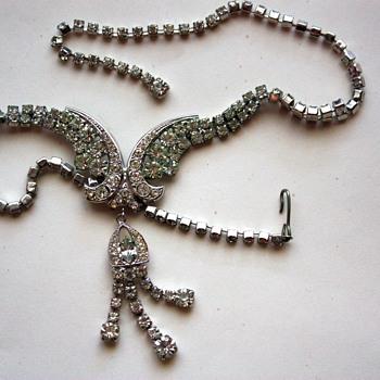 Vintage rhinestone necklace,  1940s - Costume Jewelry