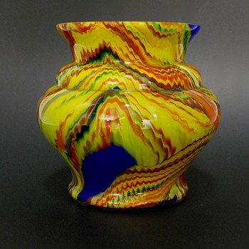 Art Deco Multicolour ZIPPERED COBALT BLUE YELLOW CZECH ART GLASS VASE, Circa 1920-30 - Art Glass