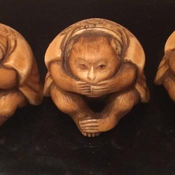 Antique Ivory Wise Monkey Figurines