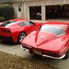 Pair of Corvettes old vs new. 2014 corvette and a 1967 corvette.