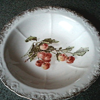 Sevres China Co. East Liverpool Ohio / Cherries Pattern Serving Bowl / Circa 1900-1908 - China and Dinnerware