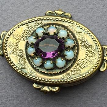 Edwardian 10K Brooch with Stones - Fine Jewelry