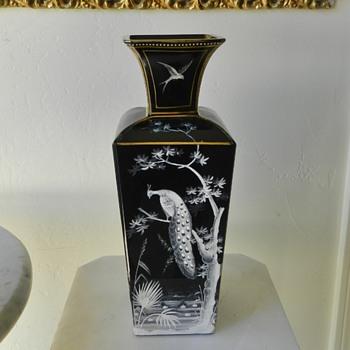 Beautiful Turn/Century Bohemian? French? Enameled Glass Vase - Art Glass