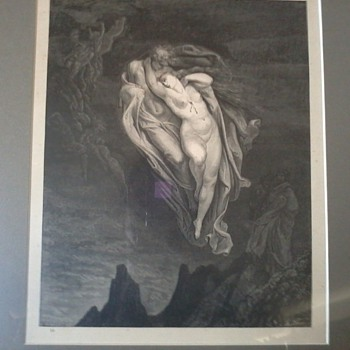 """Gustave Dore Etching by Engraver Pannemaker, from Inferno Canto 5, """"The Unfortunate Love of Paolo and Francesca"""" - Posters and Prints"""