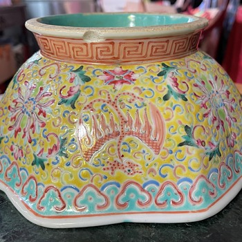 Chinese Bowl with Phoenix and Flower Design - Asian