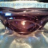 "Heavy 6 1/2"" Purple Art Glass Bowl / Circular Patterns / Polished Bottom / Unknown Maker and Age"