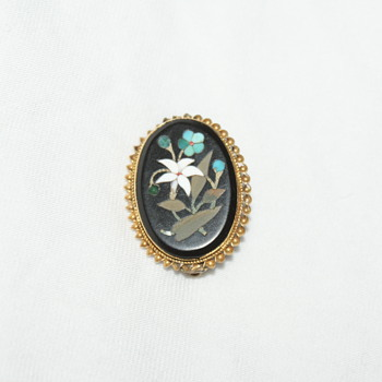 Pietra Dura Antique Brooch - Fine Jewelry